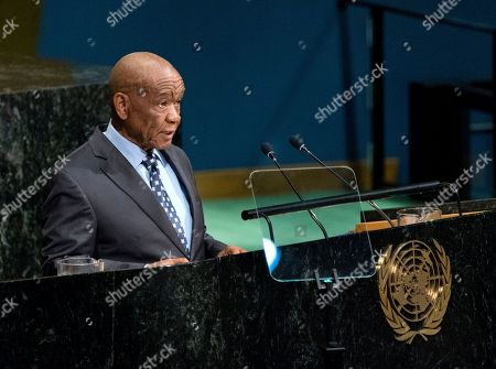 Lesotho Prime Minister Thomas Motsoahae Thabane addresses the United Nations General Assembly, at U.N. headquarters