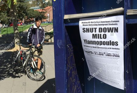 """A group has put up flyers and a booth on Sproul Plaza calling for protesters to """"Shut Down Milo Yiannopoulos,"""" at the University of California, Berkeley campus in Berkeley, Calif. Right-wing showman Milo Yiannopoulos is holding a """"Free Speech Week"""" at the University of California, Berkeley with a planned lineup including conservative firebrands Steve Bannon and Ann Coulter. The university says it has no confirmation the headline acts will appear but is preparing strong security to head off any more violent protests at the liberal campus"""