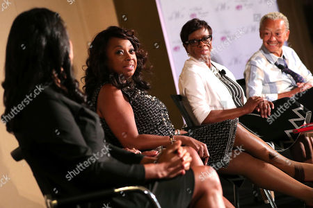 """Star Jones, Michelle Ebanks, Claudia Jones, Nikki Giovanni. Nearly 700 women attended the """"Living Your Best Life"""" workshop hosted by The Black Women's Agenda, Inc. during its 40th Annual Symposium Workshop & Awards Luncheon, at the Marriott Marquis in Washington, D.C. Star Jones, 2nd left, attorney, author and television personality, moderated the panel which included, among others, left to right, Michelle Ebanks, President, Essence Communications, Inc., AT&T Senior VP Claudia Jones, and Nikki Giovanni, celebrated poet and activist"""