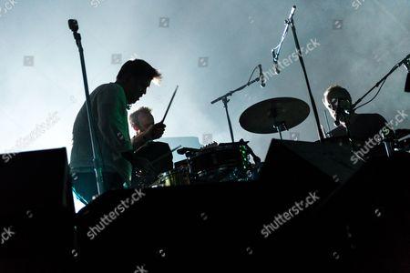 LCD Soundsystem performing. James Murphy, Pat Mahoney, Al Doyle
