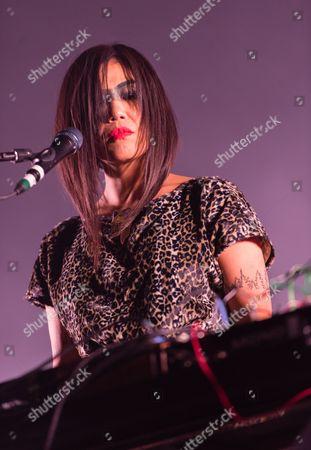 LCD Soundsystem performing. Nancy Whang