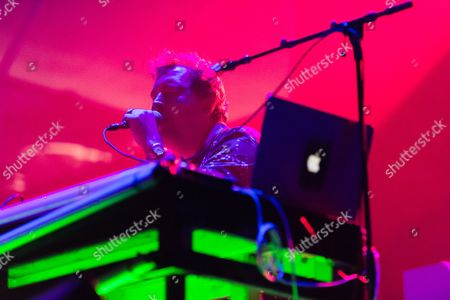 Stock Picture of Joe Goddard performing. Joe is known for being a part of Hot Chip.