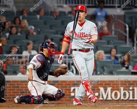 Philadelphia Phillies Hyun Soo Kim reacts after striking out in the ninth inning of a baseball game against the Atlanta Braves, in Atlanta. The Braves won the game 7-2
