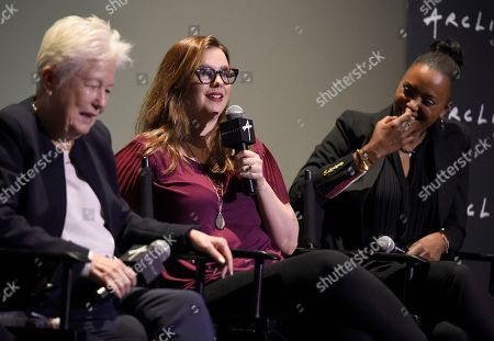 """Eleanor Coppola, Amber Tamblyn, Aisha Tyler. Eleanor Coppola, from left, Amber Tamblyn and Aisha Tyler participate in a panel discussion for """"Axis"""" at ArcLight Hollywood, in Los Angeles"""