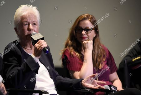 """Stock Photo of Eleanor Coppola, Amber Tamblyn. Eleanor Coppola, left, and Amber Tamblyn participate in a panel discussion for """"Axis"""" at ArcLight Hollywood, in Los Angeles"""
