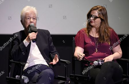 """Stock Picture of Eleanor Coppola, Amber Tamblyn. Eleanor Coppola, left, and Amber Tamblyn participate in a panel discussion for """"Axis"""" at ArcLight Hollywood, in Los Angeles"""