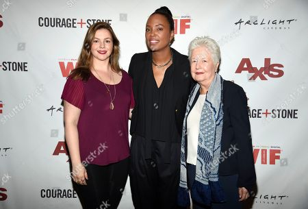 """Amber Tamblyn, Aisha Tyler, Eleanor Coppola. Amber Tamblyn, from left, Aisha Tyler and Eleanor Coppola attend a panel discussion for """"Axis"""" at ArcLight Hollywood, in Los Angeles"""