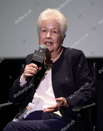 """Stock Image of Eleanor Coppola speaks during a panel discussion for """"Axis"""" at ArcLight Hollywood, in Los Angeles"""