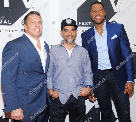 Christopher Long, Gotham Chopra and Michael Strahan