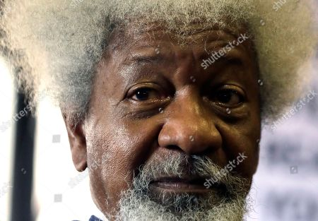 """Nigerian playwright and author Wole Soyinka, speaks during a media conference in Johannesburg, South Africa. Nobel laureate Soyinka says being an itinerant teacher has become """"a way of life"""" as he takes up a post as visiting professor at the University of Johannesburg"""