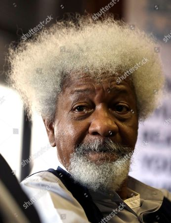 """Nigerian playwright and author Wole Soyinka, listens to a question, during a media conference in Johannesburg, South Africa. Nobel laureate Soyinka says being an itinerant teacher has become """"a way of life"""" as he takes up a post as visiting professor at the University of Johannesburg"""
