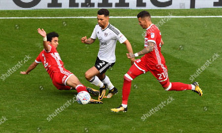 Ryan Fredericks of Fulham is fouled by Fabio Da Silva of Middlesbrough