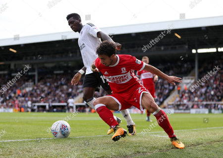 Fabio Da Silva of Middlesbrough and Sheyi Ojo of Fulham during the match between Fulham and Middlesbrough in the EFL Sky Bet Championship match at Craven Cottage, London, UK, 23 Sep 2017