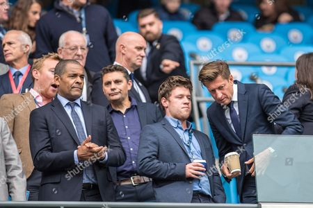 CPFC Chairman Steve Parish and Mark Bright during the Premier League match between Manchester City and Crystal Palace at the Etihad Stadium, Manchester