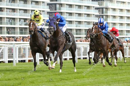 FENNAAN (centre) ridden by Jimmy Fortune beating Sam Gold (left) in The Wedgewood Estates EBF Novice Stakes at Newbury