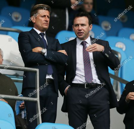 Stock Image of Crystal Palace chairman Steve Parish and Dougie Freedman in the stands