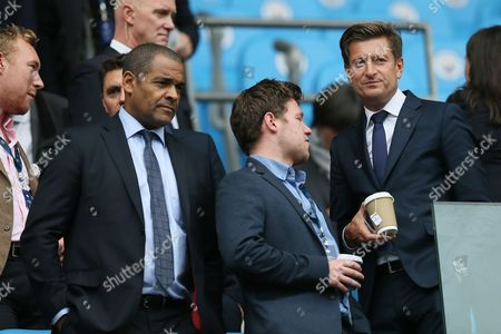 Crystal Palace chairman Steve Parish and Mark Bright in the stands