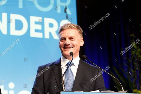 Stock Photo of New Zealand's Prime Minister Bill English talks to hundreds of supporters after election results are announced, in Auckland, New Zealand. His National Party won the most votes of any party, although not enough to form a government without the support of minor parties which may take several days or weeks to negotiate