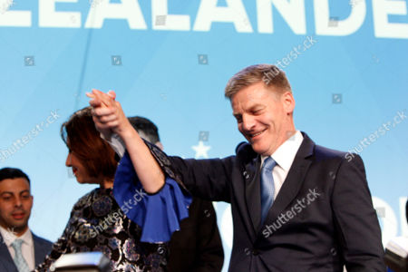 New Zealand's Prime Minister Bill English talks to hundreds of supporters after election results are announced, in Auckland, New Zealand. His National Party won the most votes of any party, although not enough to form a government without the support of minor parties which may take several days or weeks to negotiate