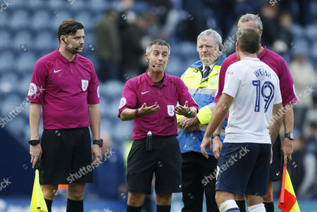 John Welsh of Preston North End remonstrates with Referee Darren Bond at full time during the EFL Sky Bet Championship match between Preston North End and Millwall at Deepdale, Preston