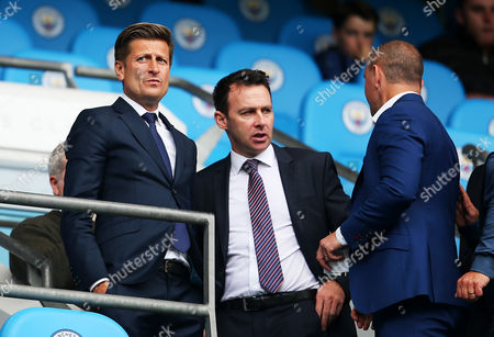 Crystal Palace chairman Steve Parish watches from the stand with sporting director Dougie Freedman