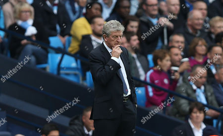 Roy Hodgson Manager of Crystal Palace looks deep in thought during the Premier League match between Manchester City and Crystal Palace on 23rd September 2017 at The Etihad Stadium, London.