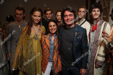 Kean Etro and Veronica Etro backstage with models