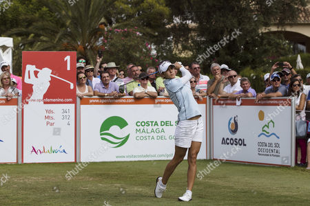 Spanish golf player Azahara Munoz competes during the third round of the Andalucia Costa del Sol Spain Open held in San Pedro de Alcantara, Andalusia, Spain, 23 September 2017.