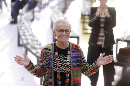 Rosita Missoni poses for photographers prior to the Missoni womens Spring/Summer 2018/19 fashion collection, presented in Milan, Italy