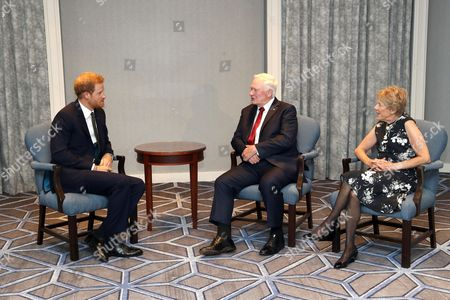 Prince Harry meets with Governor General of Canada David Johnston and wife Sharon Johnston ahead of the Invictus Games 2017 at the Fairmont Royal York hotel
