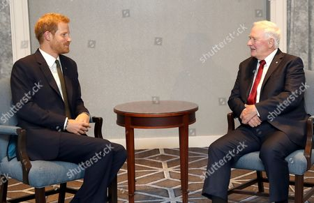 Prince Harry meets with Governor General of Canada David Johnston ahead of the Invictus Games 2017 at the Fairmont Royal York hotel