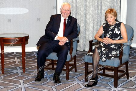 Governor General of Canada David Johnston and wife Sharon Johnston wait to meet with Prince Harry ahead of the Invictus Games 2017 at the Fairmont Royal York hotel