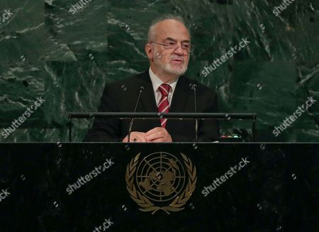 Iraq's Minister for Foreign Affairs Ibrahim Abdulkarim Al-Jafari speaks during the 72nd session of the United Nations General Assembly, at U.N. headquarters