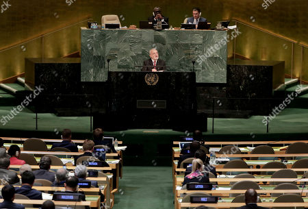 Stock Picture of Iraq's Minister for Foreign Affairs Ibrahim Abdulkarim Al-Jafari speaks during the 72nd session of the United Nations General Assembly, at U.N. headquarters