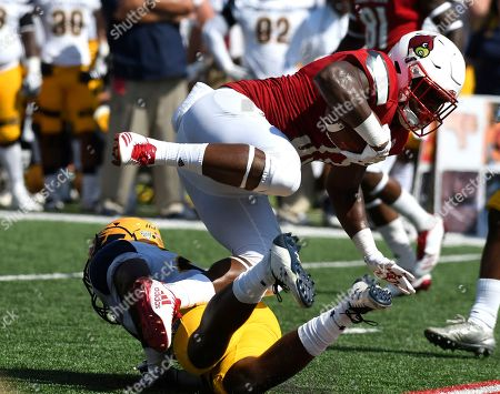 Colin Wilson, Jim Jones. Louisville running back Colin Wilson (33) is brought down by Kent State linebacker Jim Jones (22) during the second half of an NCAA college football game, in Louisville, Ky. Louisville won 42-3