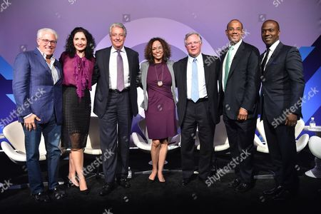 Stock Picture of Scott Kauffman (Chairman and CEO, MDC Partners), Heather Brunner (Chairwoman of the Board and CEO, WP Engine), Michael Roth (Chairman and CEO, Interpublic Group), Ellen McGirt (Senior Editor, Fortune), Clifford Hudson (CEO, Sonic), John Rogers (Chairman, CEO and Chief Investment Officer, Ariel Fund), Keith Cartwright (ECD, Saturday Morning)