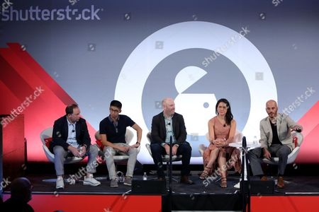 Stock Image of Ian Schafer (Chief Experience Officer, Engine USA), Brian Wong (CEO and Founder, Kiip), Russ Freyman (Head of Partnerships, Google), Natalie Monbiot (SVP Futures, Starcom), Steve Ellis (CEO, WHOSAY)