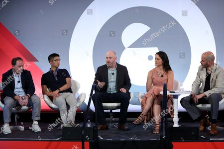Stock Picture of Ian Schafer (Chief Experience Officer, Engine USA), Brian Wong (CEO and Founder, Kiip), Russ Freyman (Head of Partnerships, Google), Natalie Monbiot (SVP Futures, Starcom), Steve Ellis (CEO, WHOSAY)
