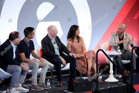 Stock Photo of Ian Schafer (Chief Experience Officer, Engine USA), Brian Wong (CEO and Founder, Kiip), Russ Freyman (Head of Partnerships, Google), Natalie Monbiot (SVP Futures, Starcom), Steve Ellis (CEO, WHOSAY)