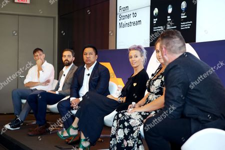 David Bell (Professor of Marketing, Wharton Business School), Eric Eslao (CEO, Defgonce Chocolatier), Cy Scott (CEO, Headset), Chrystal Ortiz (Operations Manager, True Humboldt), Circe Wallace (President and Founder, North County Farms), Drake Sutton-Shearer (Co-Founder, PRHBTD Media)