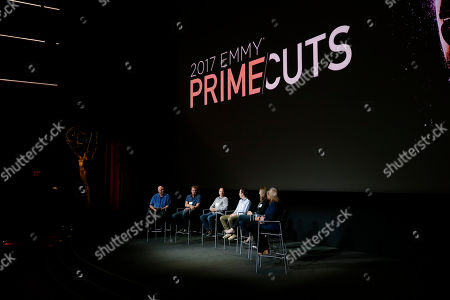 "Shawn Ryan, Kevin Ross, Roger Nygard, Aaron Morris, Jamie Martin, Jarrod Burt, Pat Barnett. From left to right, moderator Shawn Ryan, of ""The Shield"", Kevin Ross, of ""Stranger Things"", Roger Nygard, of ""Veep"", Aaron Morris, of ""Drunk History"", Jamie Martin, of ""RuPaul's Drag Race"", Jarrod Burt, of ""Born This Way"", and Pat Barnett, of ""One Day at a Time"", participate in a panel discussion for the annual PRIMECUTS event presented by the Television Academy's Picture Editing Peer Group at the Saban Media Center on in North Hollywood, Calif"