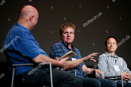 "Stock Photo of Shawn Ryan, Kevin Ross, Roger Nygard. From left to right, moderator Shawn Ryan, of ""The Shield"", Kevin Ross, of ""Stranger Things"", and Roger Nygard, of ""Veep"", participate in a panel discussion moderated by Shawn Ryan (""The Shield""), for the annual PRIMECUTS event presented by the Television Academy's Picture Editing Peer Group at the Saban Media Center on in North Hollywood, Calif"