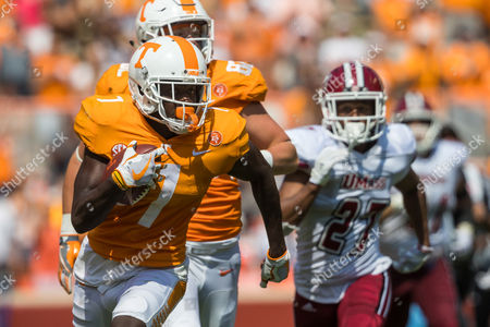 Brandon Johnson #7 of the Tennessee Volunteers catches a pass during the NCAA Football game between the University of Tennessee Volunteers and the University of Massachusetts Minuteman at Neyland Stadium in Knoxville, TN Tim Gangloff/CSM