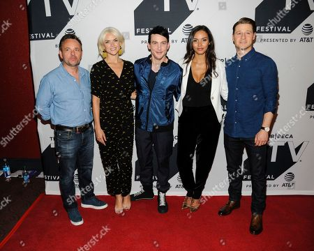 """Danny Cannon, Erin Richards, from left, Robin Lord Taylor, Jessica Lucas, and Ben McKenzie attend a screening of """"Gotham"""" during the Tribeca TV Festival at Cinepolis Chelsea, in New York"""