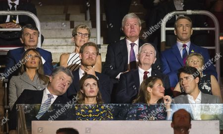 (front, L-R) Ukrainian president Petro Poroshenko, his wife Maryna Poroshenko, Sophie Gregoire-Trudeau and Canadian Prime Minister Justin Trudeau, (2nd row, L-R) US First Lady Melania Trump, British Prince Harry, Canadian Governor General David Johnston and his wife Sharon Johnston watch the opening ceremonies of the third Invictus Games in Toronto, Canada, 23 September 2017. The eight-day event, established in 2014 by Prince Harry, includes over 550 injured soldiers and veterans from 17 countries competing in 12 adaptive sports.