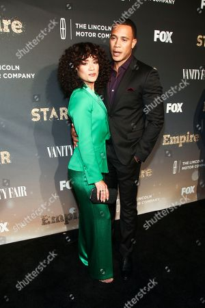 "Grace Byers, Trai Byers. Grace Byers, left, and Trai Byers, right, attend Fox's celebration of the ""Empire"" and ""Star"" television shows at One World Observatory, in New York"