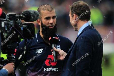 Moeen Ali of England talks to Sky's Mike Atherton during the 3rd Royal London One Day International match between England and West Indies at The Brightside County Ground, Bristol on 24th September 2017(