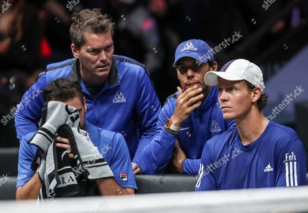 Czech Republic's Tomas Berdych (R) and Croatian Marin Cilic (L) of the Team Europe speak with their vice captain  Thomas Enqvist (2L) and their team mate Spanish Rafael Nadal (2R) during match against US Jack Sock and US John Isner of the Team World during the Laver Cup tennis tournament in Prague, Czech Republic, 24 September 2017.