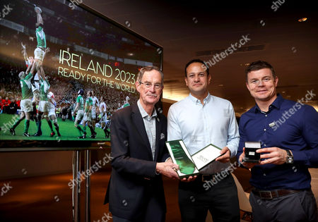 Finishing touches - Dick Spring (Ireland 2023 Bid Chairman) presents Taoiseach Leo Varadkar and Brian O?Driscoll with Ireland 2023 ties and tie-pins as they go through the final preparations for tomorrow?s crucial Rugby World Cup bid presentation to World Rugby, in London. Ireland will propose a ?tournament like no other, full or Irish spirit and commercial success?. The Ireland bid team are confident that their bid is the most lucrative and secure ever presented for a Rugby World Cup, with support and guarantees from the governments of Ireland and Northern Ireland offering an unsurpassable opportunity for World Rugby to host the 2023 tournament to another first time host. Pictured (L-R) Dick Spring (Ireland 2023 Bid Chairman) Taoiseach Leo Varadkar and Brian O'Driscoll