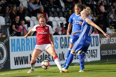 Jessica Samuelsson of Arsenal women and Emma Follis of Birmingham City Ladies during Arsenal Women vs Birmingham City Ladies, FA Women's Super League FA WSL1 Football at Meadow Park on 24th September 2017
